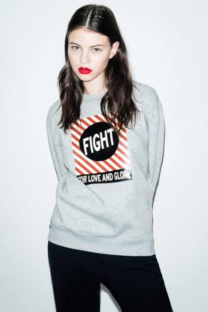 FFLAG Paris – Fight for love and glory – Sweatshirt unisexe imprimé gris – face