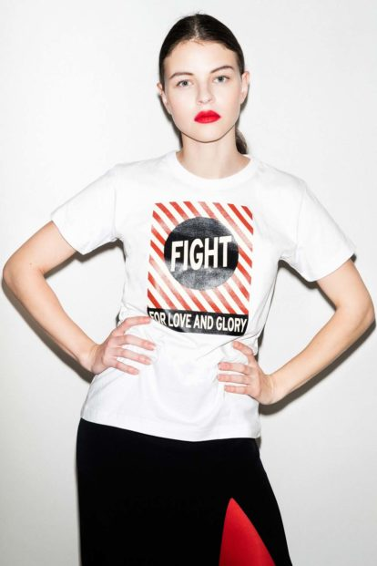 FFLAG Paris – Fight for love and glory – T-shirt femme imprimé blanc – face