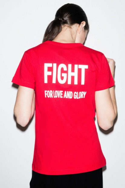 FFLAG Paris – Fight for love and glory – T-shirt rouge femme emblème blanc – dos